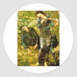 Beguiling of Merlin ~ Burne-Jones 1874 Painting Round Stickers