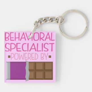 Behavioral Specialist Chocolate Gift for Woman Double-Sided Square Acrylic Key Ring