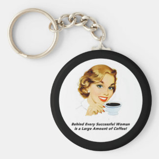 Behind Every Successful Woman Basic Round Button Key Ring