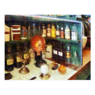 Behind the Counter at the Drugstore Postcard