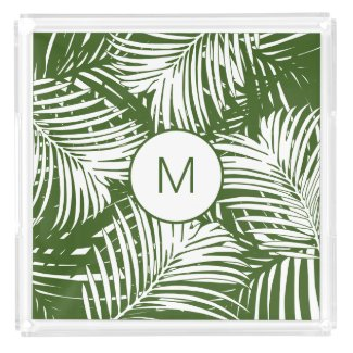 Behind the Green Palms Modern Monogrammed Acrylic Tray