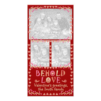 Behold Love Valentine's Three Photo Frame Collage Photo Greeting Card