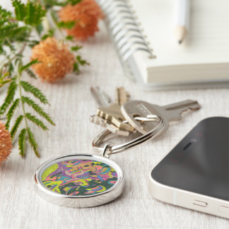 Behold, Original Abstract Silver-Colored Round Key Ring