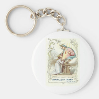 'Behold Your Mother' Blessed Virgin Mary Items Basic Round Button Key Ring