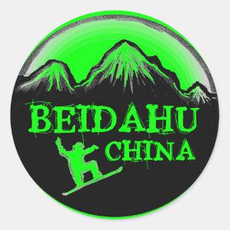Beidahu China green snowboard stickers