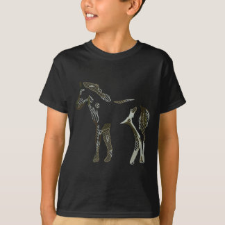 Beige abstract horse drawing in grey and tons - T-Shirt