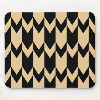 Beige and Black Chevron Pattern. Mouse Pad