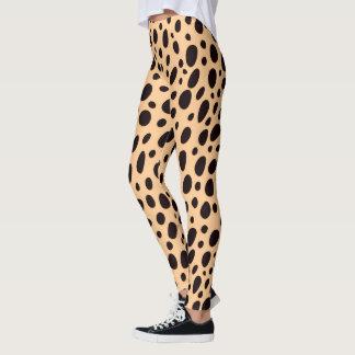 Beige And Black Leopard Design Leggings