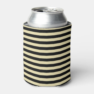 Beige and Black Stripes Can Cooler