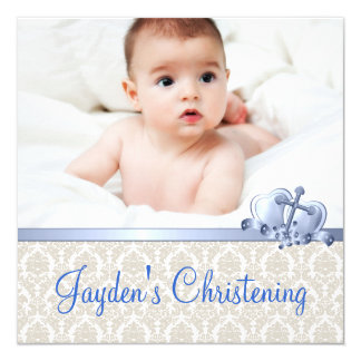 Beige and Blue Damask Boys Photo Christening 13 Cm X 13 Cm Square Invitation Card