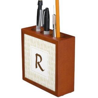 Beige and Brown Abstract Monogram Desk Organiser