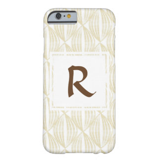 Beige and Brown Abstract Pattern Monogram Barely There iPhone 6 Case