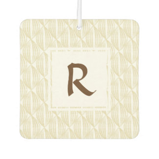 Beige and Brown Abstract with Custom Monogram Car Air Freshener