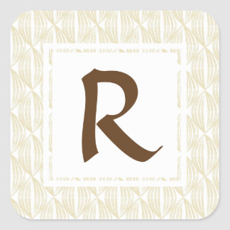 Beige and Brown Abstract with Custom Monogram Square Sticker