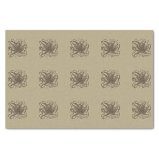 Beige and Brown Retro Octopus Vintage Inspired Tissue Paper