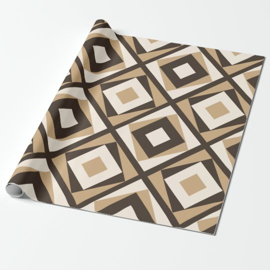 Beige and brown square diamonds wrapping paper