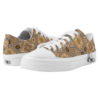 Beige And Brown Tones Ancient Pattern Low Tops