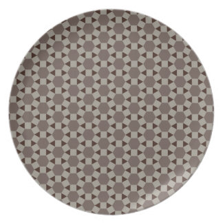 Beige and Browns Geometric Tessellation Pattern Plate