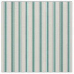 Beige and Dark Teal Classic Ticking Stripes Fabric