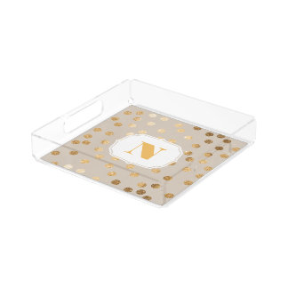 Beige and Gold Glitter City Dots Monogram Tray