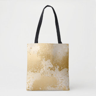 Beige and Gold Paint Splatter Tote Bag