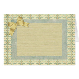 Beige and Green Abstract Border Greeting Card