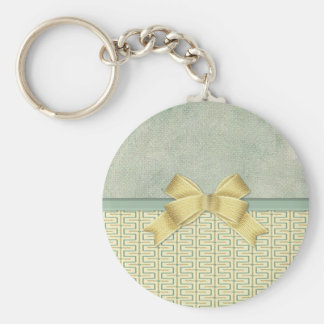 Beige and Green Bottom Border Basic Round Button Key Ring