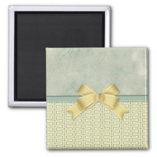 Beige and Green Bottom Border Square Magnet