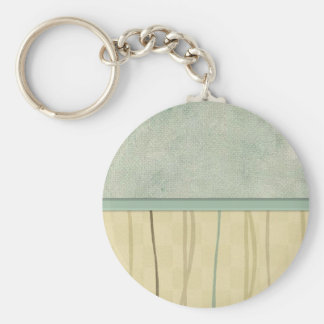 Beige and Green Mod Stripe (2) Basic Round Button Key Ring