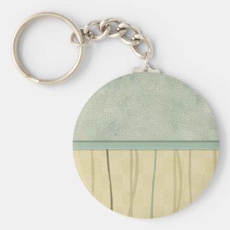 Beige and Green Mod Stripe (2) Keychain