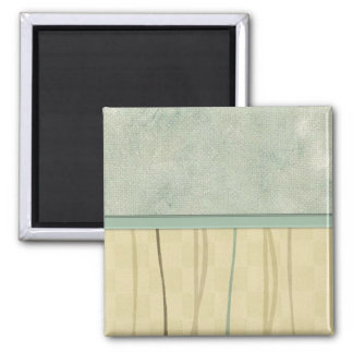 Beige and Green Mod Stripe (2) Square Magnet