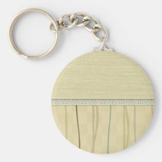 Beige and Green Mod Stripe (4) Basic Round Button Key Ring
