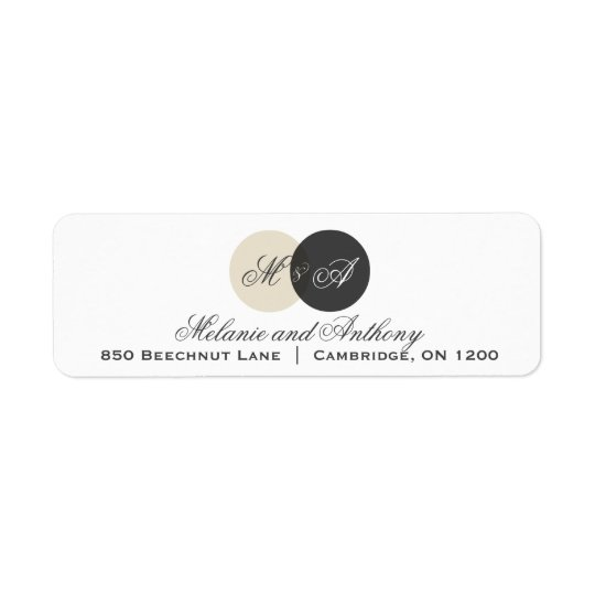 Beige and Grey Entwined Monogram Address Label