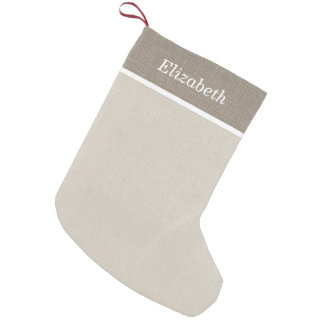 Beige and Ivory Rustic Holiday Monogram Small Christmas Stocking