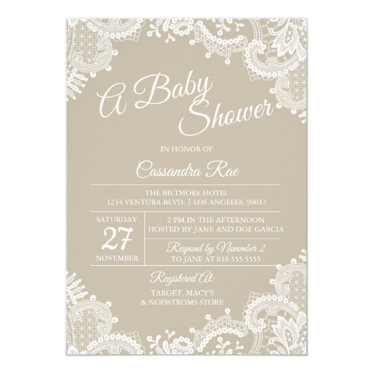 Beige and Lace Baby Shower Invitation