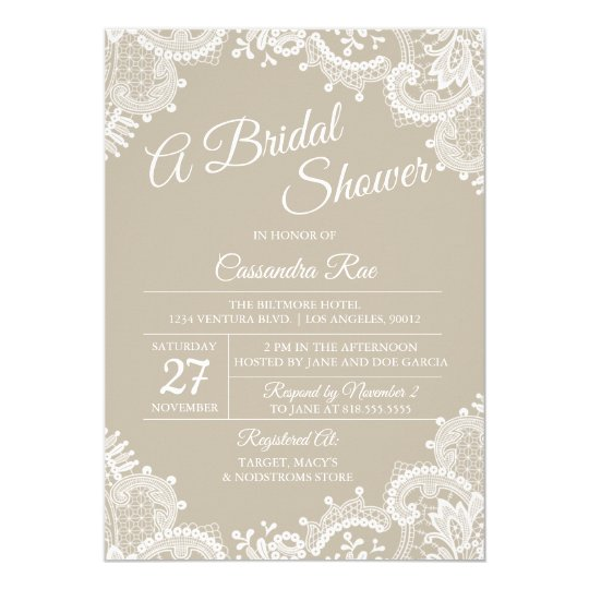 Beige and Lace Bridal Shower Invitation