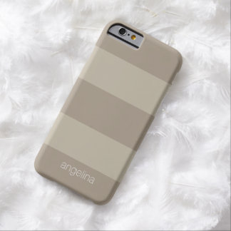 Beige and Linen Modern Striped Pattern Custom Name Barely There iPhone 6 Case