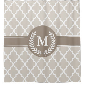 Beige and Mocha Moroccan Monogrammed Shower Curtain