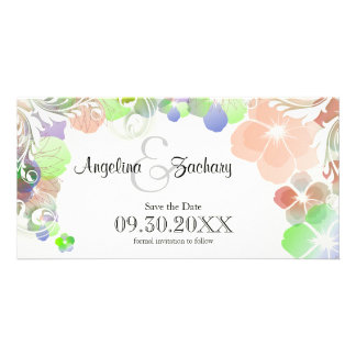 Beige And Multicolor Pansies Save-The-Date Customized Photo Card