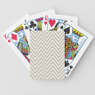 Beige and White Chevron Pattern 2 Bicycle Playing Cards