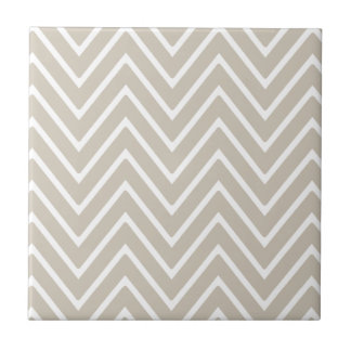 Beige and White Chevron Pattern 2 Small Square Tile