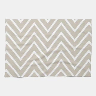 Beige and White Chevron Pattern 2 Tea Towel