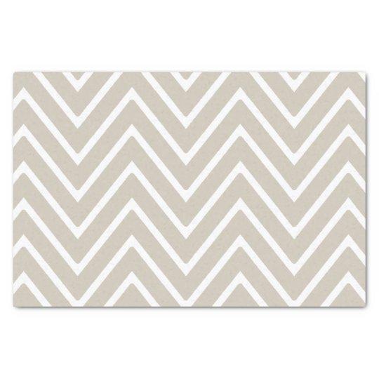 Beige and White Chevron Pattern 2 Tissue Paper