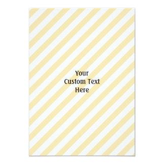 Beige and White Diagonal Stripes. 13 Cm X 18 Cm Invitation Card