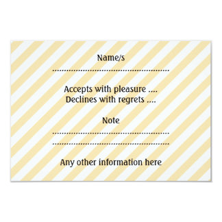 Beige and White Diagonal Stripes. 9 Cm X 13 Cm Invitation Card
