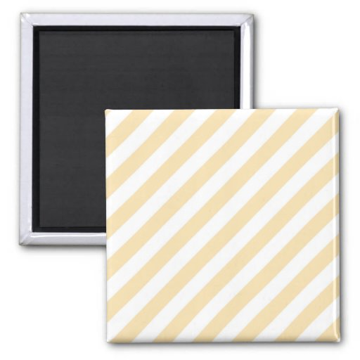 Beige and White Diagonal Stripes. Refrigerator Magnet