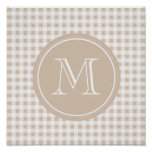 Beige and White Gingham, Your Monogram Print