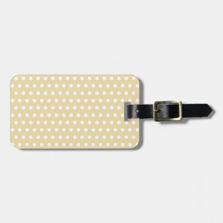 Beige and White Polka Dot Pattern. Spotty. Bag Tag