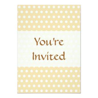 "Beige and White Polka Dot Pattern. Spotty. 5"" X 7"" Invitation Card"