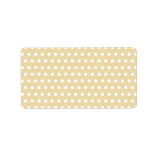 Beige and White Polka Dot Pattern. Spotty. Label